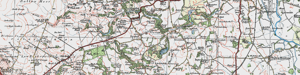 Old map of Wet Car Wood in 1925