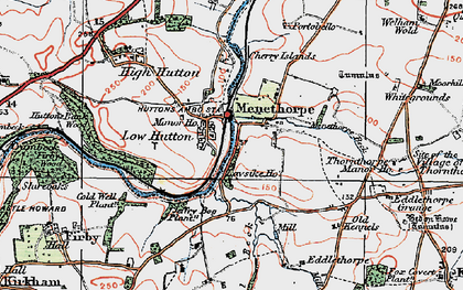 Old map of Low Hutton in 1924