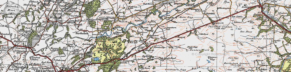 Old map of Allieshaw Rigg in 1925