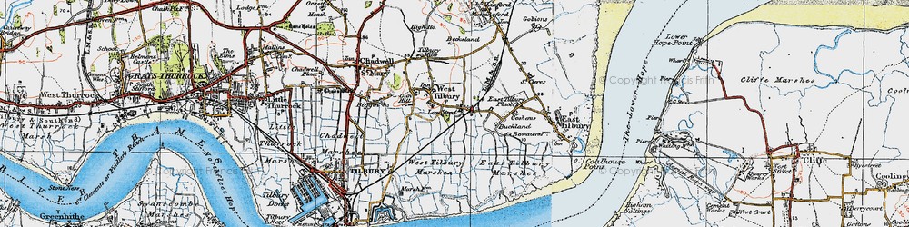 Old map of West Tilbury Marshes in 1920