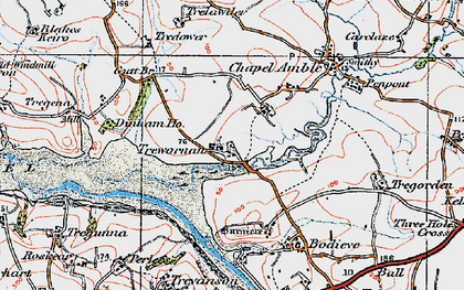 Old map of Lower Amble in 1919