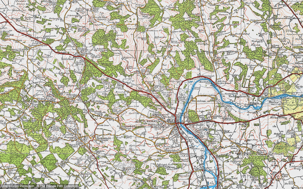 Old Map of Historic Map covering Badgemore Ho in 1919