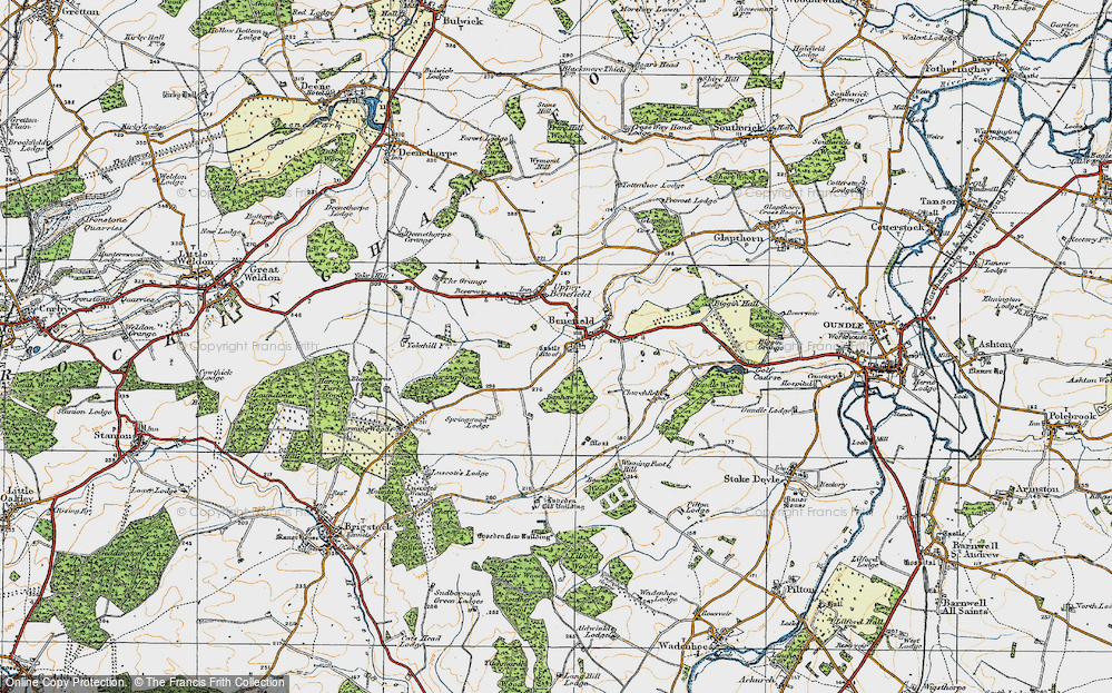 Old Map of Historic Map covering Banhaw Wood in 1920