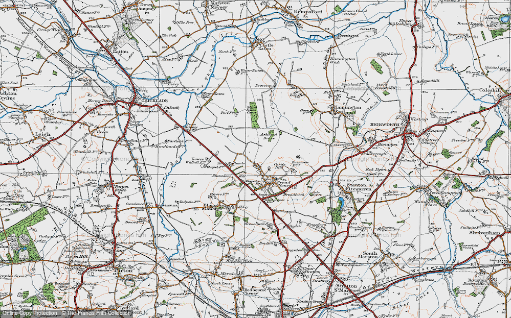 Old Map of Historic Map covering Ashmead Brake in 1919