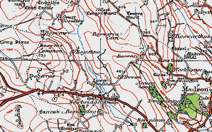Old map of Lower Bodinnar in 1919