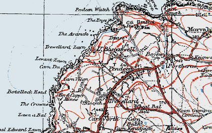 Old map of Levant Zawn in 1919