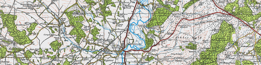 Old map of Lower Burgate in 1919
