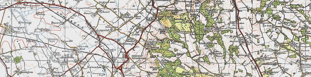 Old map of Whiteleaf Cross in 1919