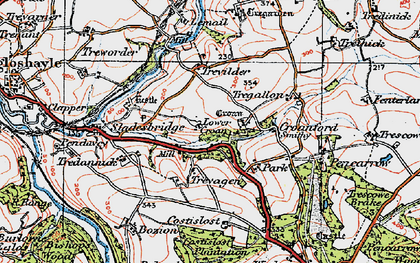 Old map of Lower Croan in 1919