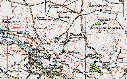 Old map of Lower Denzell in 1919
