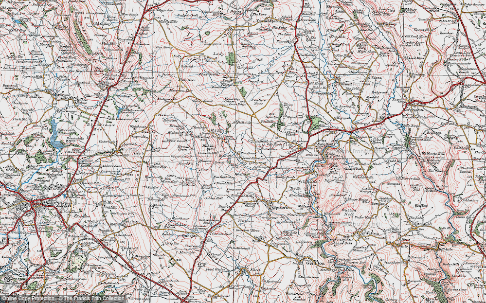Old Map of Historic Map covering Averhill Side in 1923