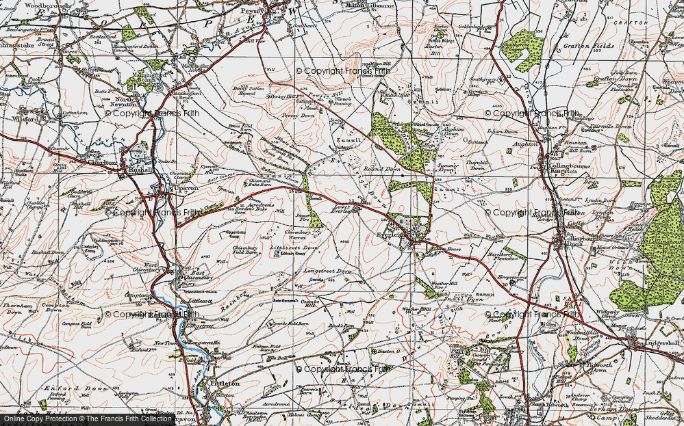 Old Map of Historic Map covering Lidbury Camp in 1919