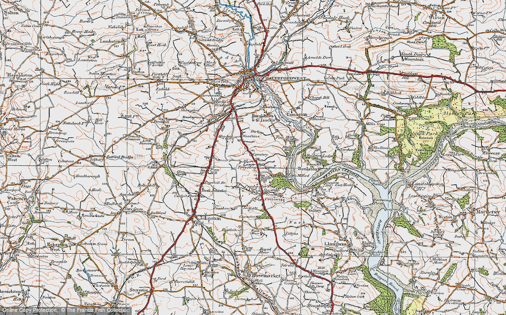 Old Map of Historic Map covering Woodbine in 1922