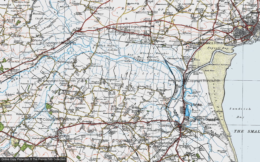 Old Map of Historic Map covering Ash Level in 1920