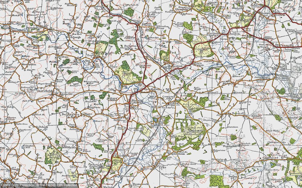 Old Map of Historic Map covering Ash Corner in 1921