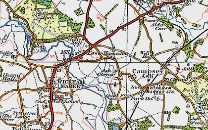 Old map of Wickham Market Sta in 1921