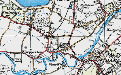 Old map of Lower Halliford in 1920