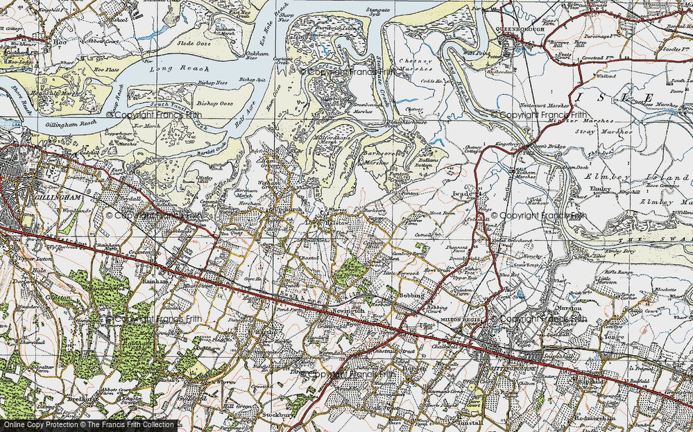 Old Map of Historic Map covering Barksore Marshes in 1921