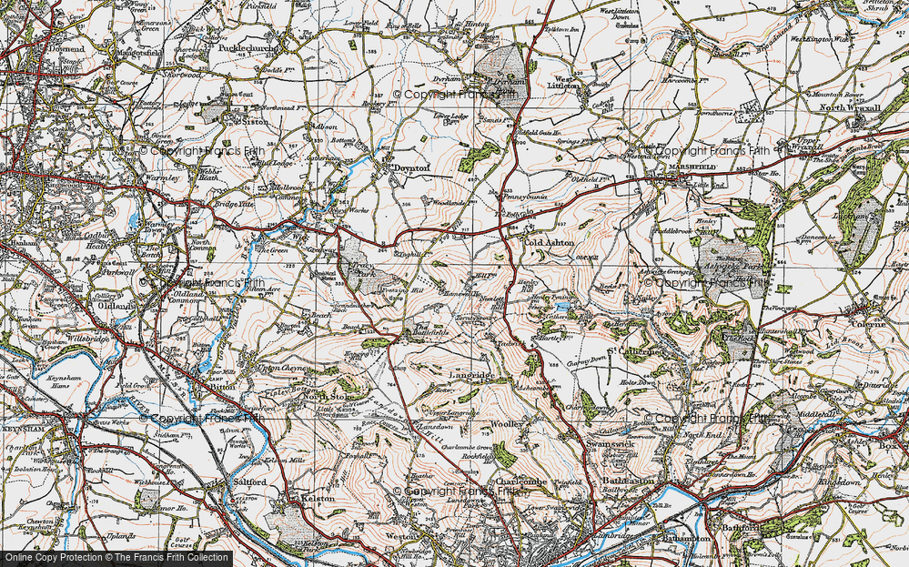 Old Map of Historic Map covering Tog Hill in 1919