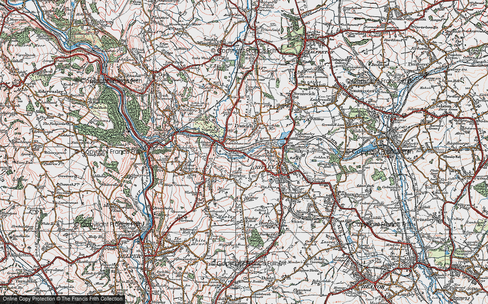 Old Map of Lower Hartshay, 1921 in 1921