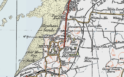 Old map of Lower Heysham in 1924
