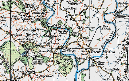 Old map of Lower Hodder in 1924
