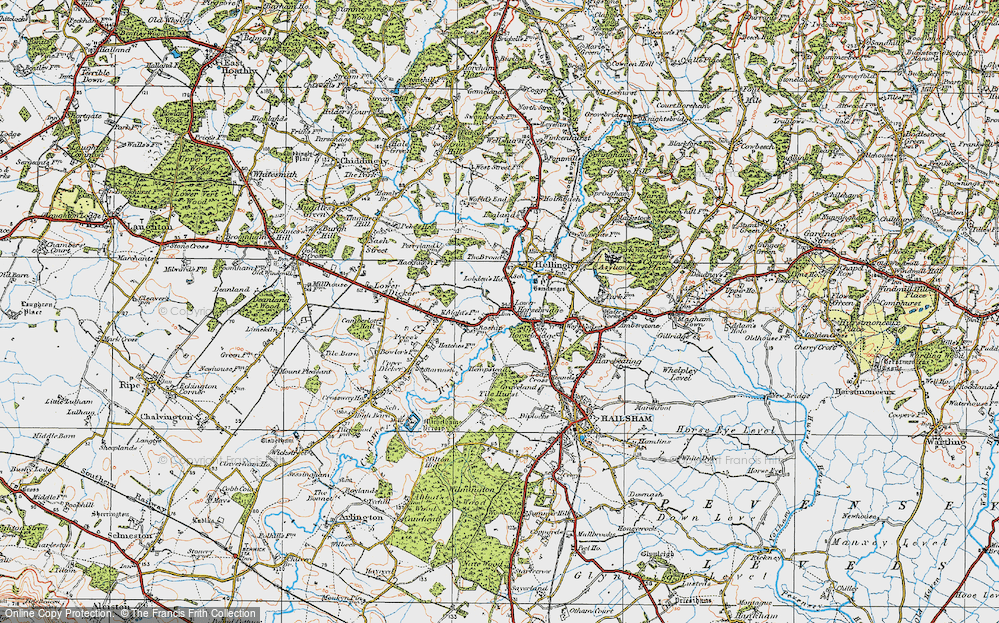 Old Map of Historic Map covering Tile Hurst in 1920