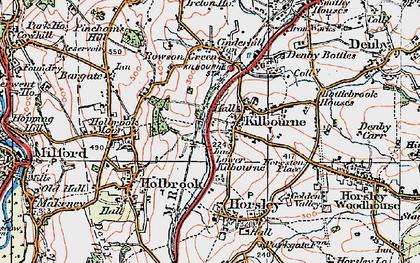 Old map of Lower Kilburn in 1921