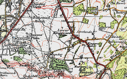 Old map of Lower Kingswood in 1920
