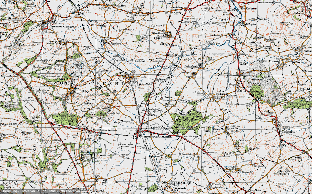 Old Map of Historic Map covering Aston Hale in 1919