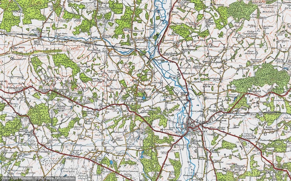 Old Map of Historic Map covering Awbridge Danes in 1919