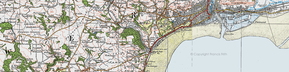 Old map of Lower Sketty in 1923