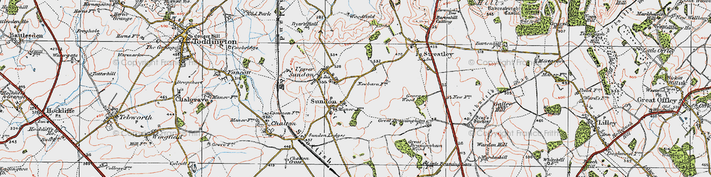 Old map of Lower Sundon in 1919