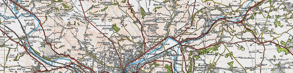 Old map of Lower Swainswick in 1919