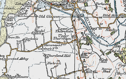 Old map of Lower Thurnham in 1924