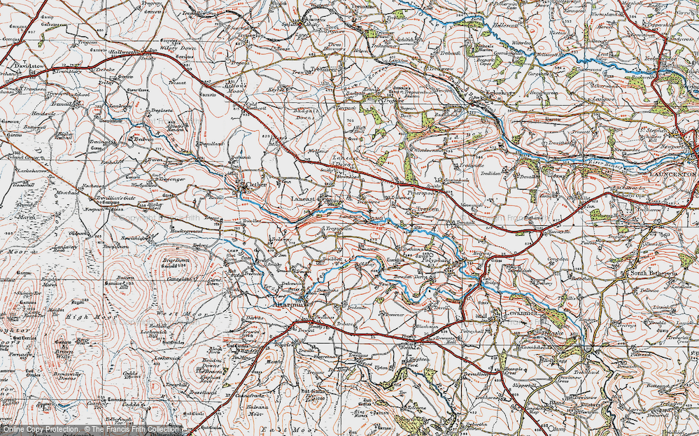 Old Map of Historic Map covering Laneast Downs in 1919