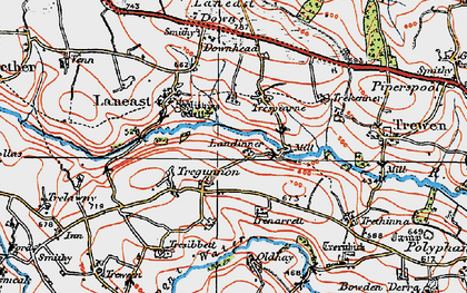 Old map of Laneast Downs in 1919