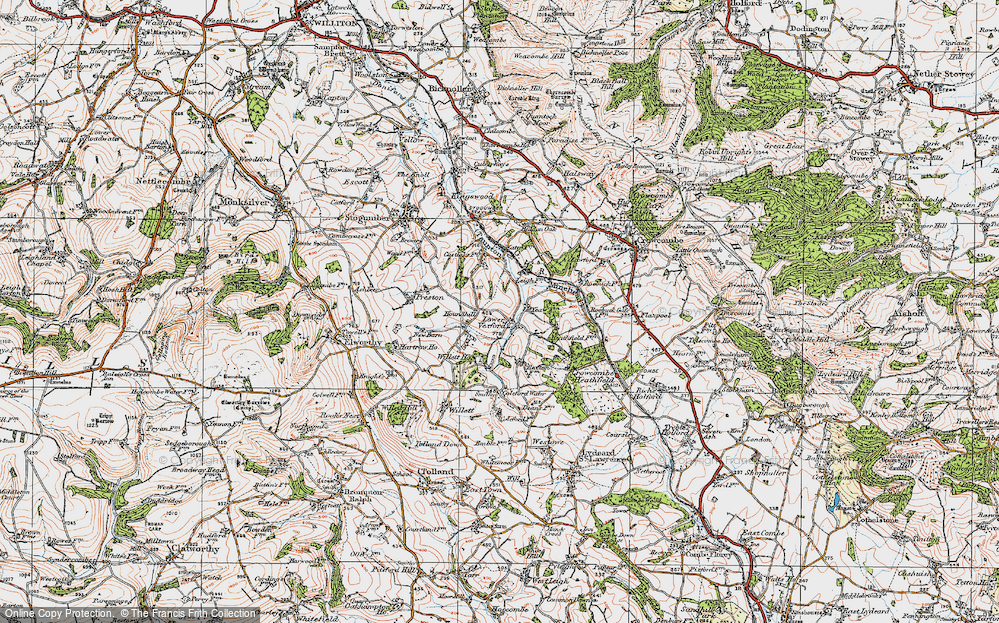 Old Map of Historic Map covering Leigh Cott in 1919
