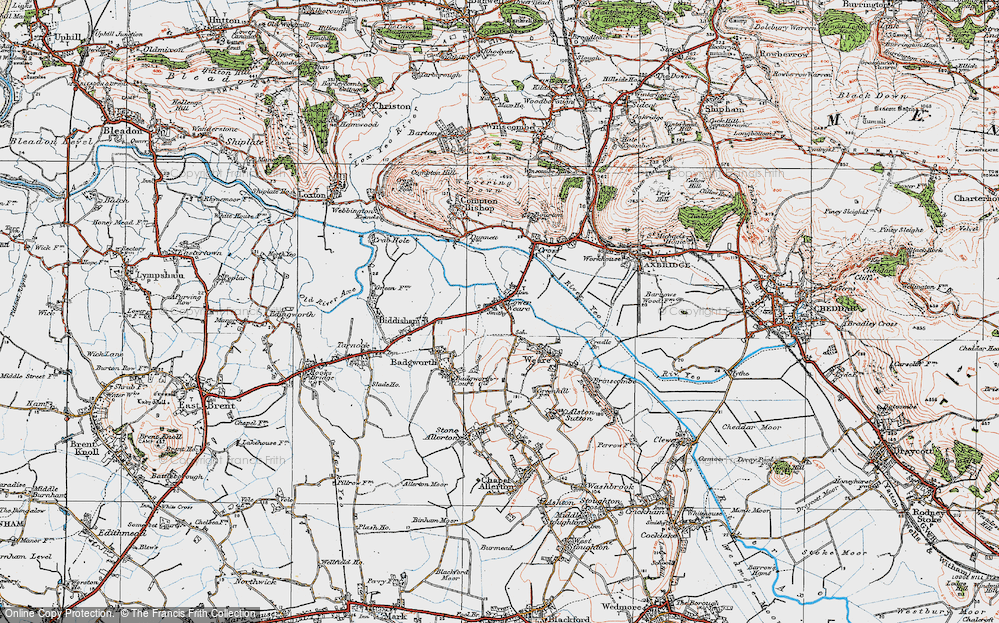 Old Map of Historic Map covering Badgworth Court in 1919