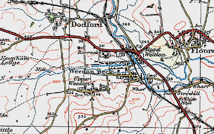 Old map of Lower Weedon in 1919