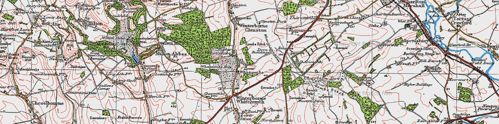 Old map of Whatcombe Down in 1919