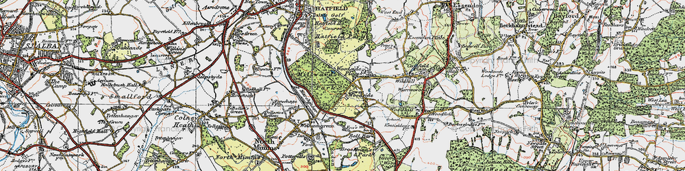 Old map of Woodside Place in 1920