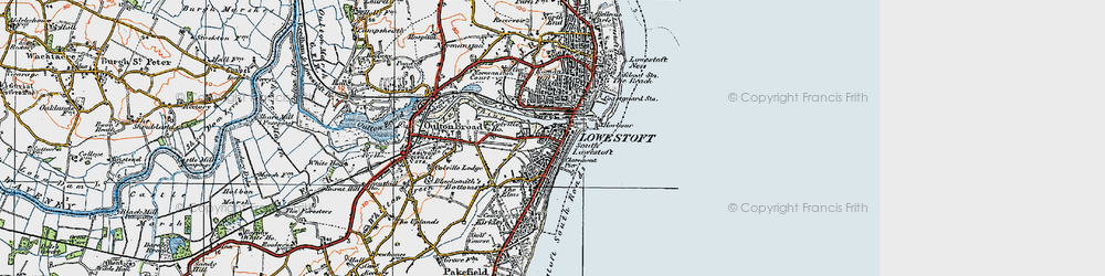 Old map of Lowestoft in 1921