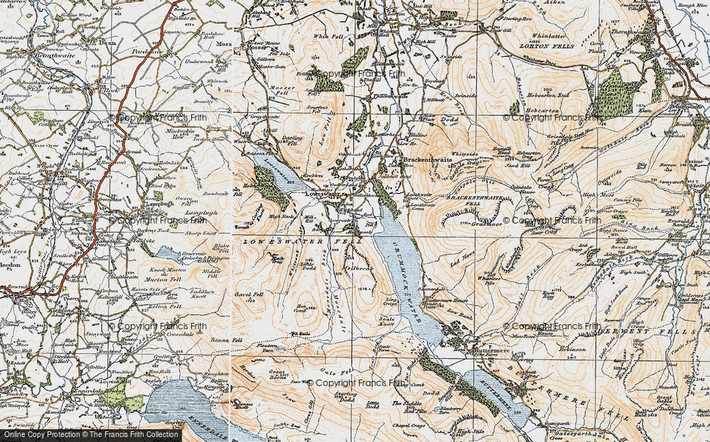 Old Map of Historic Map covering Whiteoak Beck in 1925