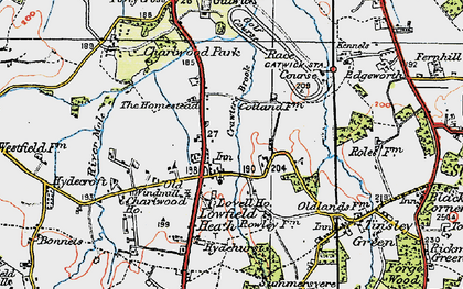 Old map of London Gatwick Airport in 1920