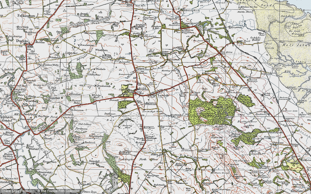 Old Map of Lowick, 1926 in 1926