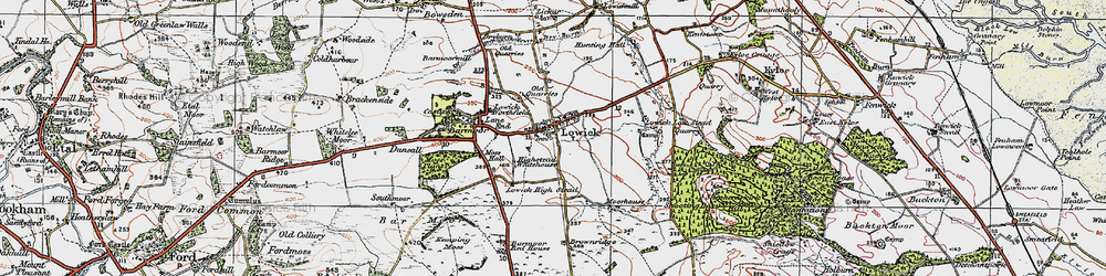 Old map of Lowick in 1926
