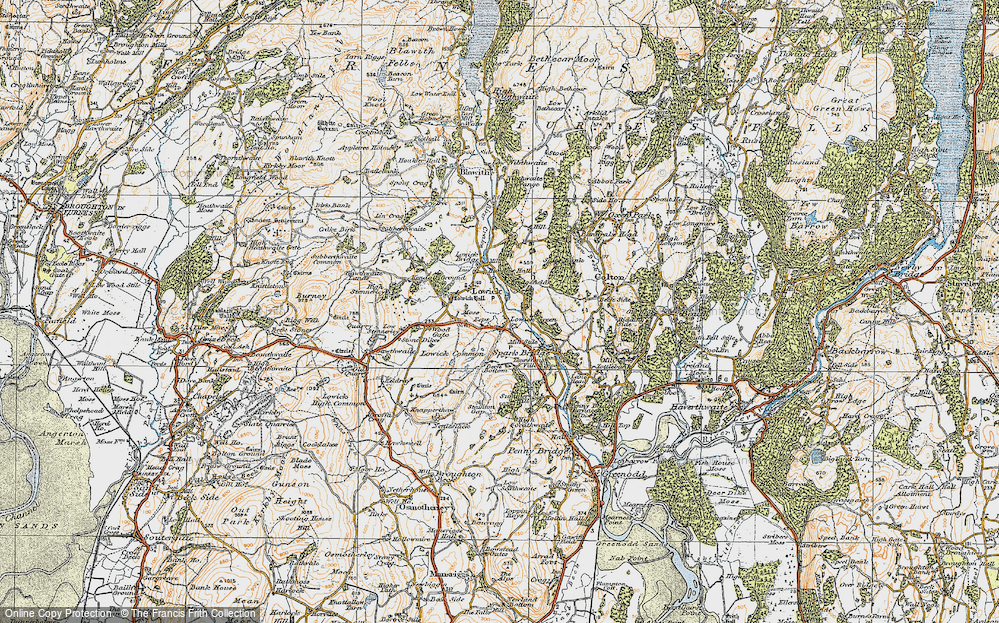 Old Map of Historic Map covering Wood Gate in 1925
