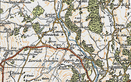 Old map of Lowick Green in 1925
