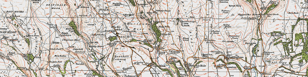 Old map of White Sykes in 1925